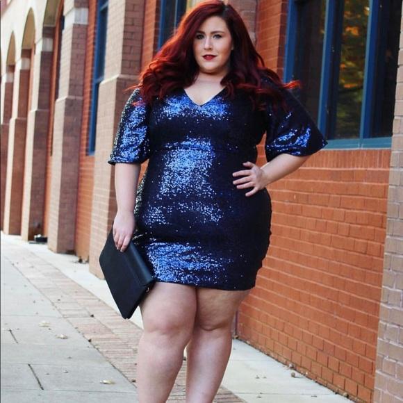 Plus size full sequin mini dress